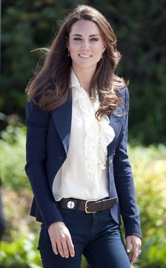Kate Middleton.  Looks awesome in jeans!!  Why?  Details...Her smile,soft hair, light makeup and confidence!