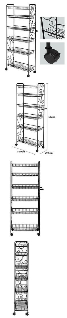 Racks and Holders 46283: 6 Tier Rolling Metal Bathroom Kitchen Storage Shelf Rack Stand With Wheels Black -> BUY IT NOW ONLY: $69.99 on eBay!