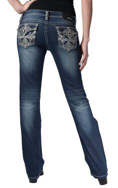 Grace in LA® Women's Medium Wash with Silver Metallic Cross & Crystals Flap Pocket Boot Cut Jeans
