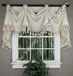 Serenity is a elegant faux silk victory valance available in 5 popular colors, unique tab head accents your decorative rod. #Ascot #Tassels #Valances