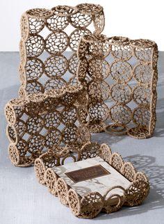 4 Piece Weaved Jute Rectangle Basket Set