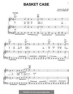Basket Case (Green Day): For voice and piano (or guitar) by Billie Joe Armstrong, Tré Cool, Michael Pritchard Basket Case Green Day, Guitar Tabs For Beginners, Fingerstyle Guitar Lessons, Green Day Billie Joe, Three Days Grace, Billie Joe Armstrong, Piano Sheet Music, Music Lyrics, Music