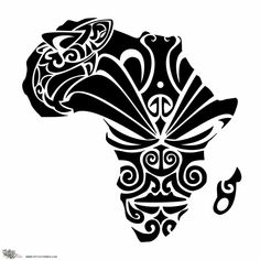 African dream tattooVita requested an Africa-shaped tattoo with Maori fillings representing a facial mask (moko) and a shark. We thought of drawing the . African Warrior Tattoos, African Tribal Tattoos, African Tribal Patterns, Tattoo Tribal, Tribal African, African Art, African Symbols, Tattoo Maori, African Design