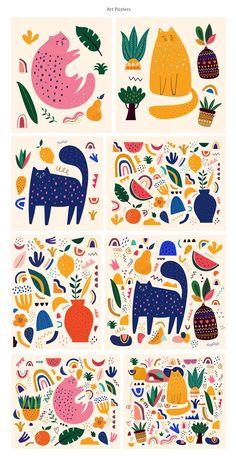 Graphisches Design, Pattern Design, Kids Graphic Design, Pattern Art, Print Patterns, Cat Doodle, Posca Art, Illustration Art, Doodle Illustrations