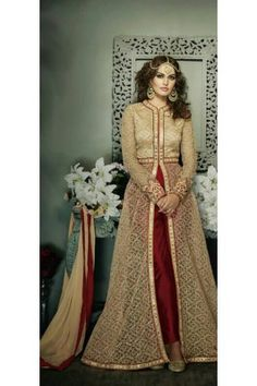 Beige and Maroon Coloured Net Embroidered Semi Stitched Party Wear Designer Anarkali Dress With Koti