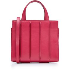 Max Mara Small Leather Tote (19.270 ARS) ❤ liked on Polyvore featuring bags, handbags, tote bags, magenta, leather totes, red leather tote, red purse, tote handbags and red tote