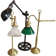 Set of Three Adjustable Table Lamps | From a unique collection of antique and modern table lamps at http://www.1stdibs.com/furniture/lighting/table-lamps/