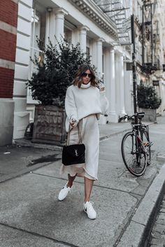 Neutrals Skirt Similar Sweater from Mango but sold out similar here and here Nike Cortez YSL Bag # yslbag Stylish Maternity, Maternity Fashion, Nike Cortez, Nyc Fashion, Fashion Outfits, White Fashion, Fashion 2017, Korean Fashion, Culotte Style