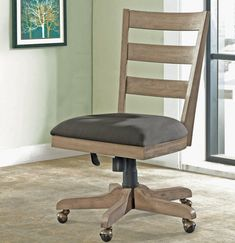 Perspectives Wood Back Upholstered Desk Chair I Riverside Furniture Farmhouse Office Chairs, Home Office Chairs, Chair Upholstery, Upholstered Dining Chairs, Bankers Chair, Business Furniture, Parsons Chairs, Old World Style, Side Chairs