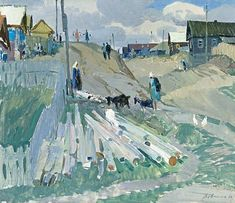 Street in Pristannoe village. Socialist Realism, Soviet Art, Art Station, Impressionist Art, Realism Art, Urban Landscape, Artist At Work, Traditional Art, Art Forms