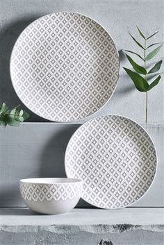 Buy 12 Piece Grey Geo Dinner Set from the Next UK online shop