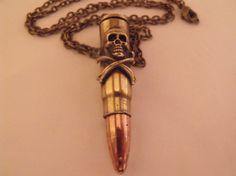 Death Bullet Necklace Mens Womens Skull Crossbones by AGothShop, $21.00