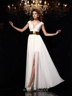 A-Line/Princess V-neck Sleeveless Lace Floor-Length Chiffon Dresses