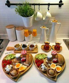 Romantic Breakfast, Turkish Breakfast, Breakfast Platter, Breakfast Table Setting, Breakfast Set, Breakfast Buffet, Party Food Platters, Food Displays, Food Decoration