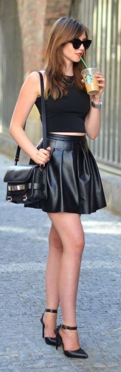 Black Leather mini skirt loving this whole look except i dont like coffee xx #black