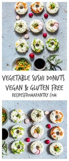 Vegetable Sushi Doughnuts - A simple vegetable sushi doughnuts recipe made with 5 ingredients - mixed vegetables, sushi rice, maple syrup, mirin & rice vinegar. Vegetable sushi donuts. | recipesfromapantry.com