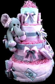 Elephant diaper cake for Baby Girl in Pink and Gray ... cute!