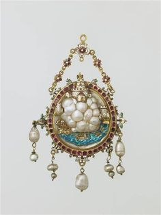 Renaissance pendant with baroque pearls as rocks leading to a castle. 17th Century from The Louvre
