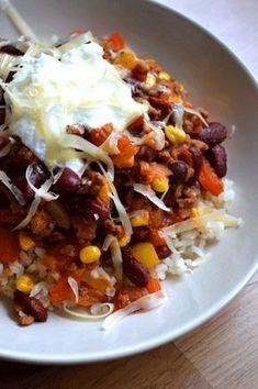 Recept voor chili con carne zonder pakjes en zakjes! Gezond recept en goed voor als je wilt afvallen. In 20 minuten klaar!