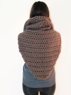 PATTERN for Chunky Soft Crochet Poncho Scarf Cowl Hood All