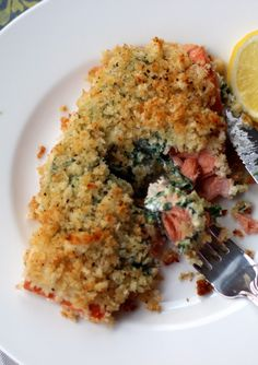baked salmon stuffed with mascarpone spinach {fresh french bread and parmesan crumb topping}