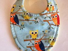 Infant  Bib Colorful Owls Triple Layer Super by BananasBoutique, $6.99