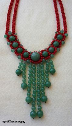 Red macrame necklace with green aventurin