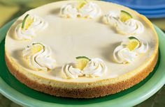 Refreshing Lime Cheesecake - Lower Carb recipe. Reduced-fat cheesecake with the decadent flavor and texture of the full-fat version. Fresh lime juice and lime peel add refreshing tropical flavor. No sugar added recipe. Diabetic Gourmet Magazine. DiabeticGourmet.com