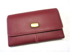 Vintage Wallet Cranberry Red Billfold Trifold by sweetie2sweetie, $8.99