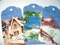 Winter Scene Christmas Gift Tags Set of 6 Homes In by SiriusFun