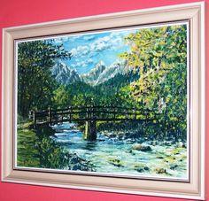 most v Alpach olej platno Display, Landscape, Portrait, Night, Architecture, Canvas, Artwork, Nature, Painting