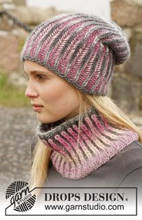 "Knitted DROPS hat and neck warmer with English rib in two colours in ""Big Delight"". ~ DROPS Design"