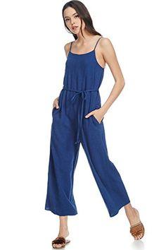 HTOOHTOOH Womens Hollow Out Casual Spaghetti Strap Beach Sleeveless Shorts Jumpsuit