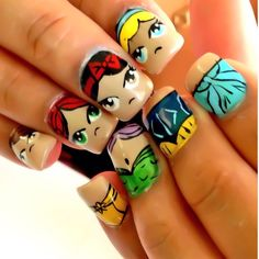Disney princess nails heads and dresses. They look kind of angry.
