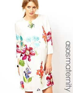 Image 1 of ASOS Maternity Shift Dress In Botanical Print