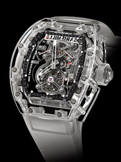 World's most expensive Watches-Richard Mille upped the ante in 2014 with the launch of the Richard Mille Tourbillon RM 56-02 Sapphire. Richard Mille's most expensive watch yet, which breaks not only the $1 million barrier but the $2 million one as well, priced at a very cool $2,020,000. Richard Mille, Amazing Watches, Beautiful Watches, Cool Watches, Unique Watches, Gents Watches, Fine Watches, Tourbillon Watch, Skeleton Watches