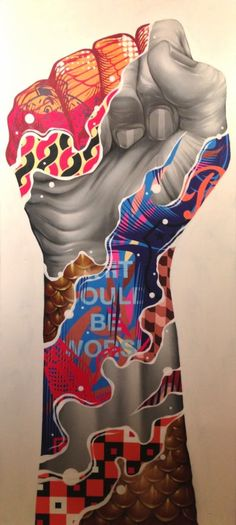 """""""J'avance le coeur léger Mais toujours le poing levé."""" ( Amel Bent )  / Street art. / USA. / By Tristan Eaton."""