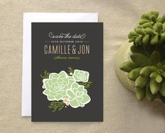Rustic Succulent Save the Date Card Boho by CheerUpCherup on Etsy, $1.75