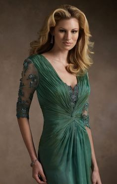 nice green Another image of Mother of the Bride Dresses Rina di Montella Chiffon Lace Gown R21041