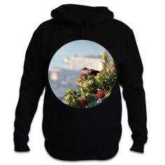 Tui and Pohutukawa Circle Photo - New Zealand Hoodie Gray Background, Kiwi, New Zealand, Cool Designs, Graphic Sweatshirt, Hoodies, Products, Fashion, Moda