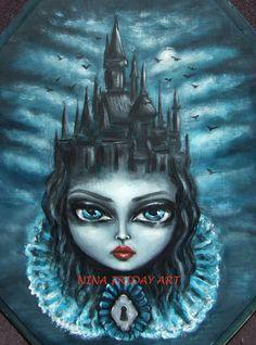 Accueil est où le cœur est ventru gothique toile d'impression par Nina vendredi