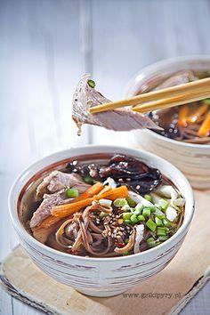 Duck soup with soba noodles Beef Noodle Soup, Beef And Noodles, Duck Soup, Asian Recipes, Ethnic Recipes, Soba Noodles, Japchae, Bon Appetit, Food Photography