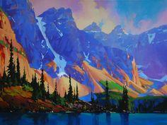 ms Landscape Quilts, Landscape Art, Landscape Paintings, Landscapes, Paintings I Love, Seascape Paintings, Beautiful Paintings, Mountain Images, Mountain Art