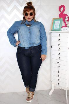 peça chave do inverno calça jeans plus size e camisa jeans plus size 3b