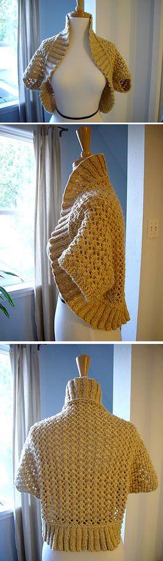 Bolero with Lace Pattern (Free Pattern) - Free Knitting Pattern - Knit Shrug, Crochet Cardigan, Knit Or Crochet, Cute Crochet, Crochet Shawl, Sweater Knitting Patterns, Knitting Yarn, Knit Patterns, Free Knitting