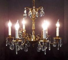 Six Light European Crystal Chandelier Ornate Brass by donDiLights