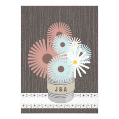 Monogram Tin Can Peach  Blue Daisies Personalized Invitations  Click on photo to purchase. Check out all current coupon offers and save! http://www.zazzle.com/coupons?rf=238785193994622463&tc=pin