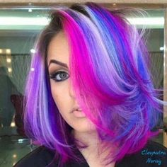 Hair color 2 inches of roots looks good with this. Pink and purple from bright to light shades. #UpandDown