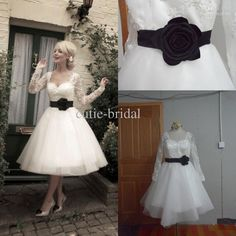 Wholesale A-Line Wedding Dresses - Buy Custom Made Square Neck Black Flower Sash Long Sleeves Wedding Dress Tulle Skirt Sexy Tea Length Bride Lace Dresses 2013, $163.55 | DHgate