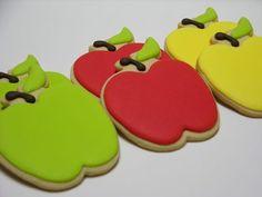 Galleta Decorada de Manzanas de Colores. Apples Decorated Cookies.